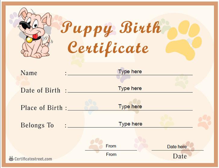 Special Certificates - Puppy Birth Certificate within Unique Puppy Birth Certificate Template