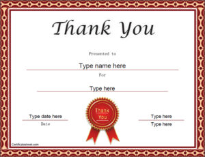 Special Certificates – Thank You Certificate Template in New Thanks Certificate Template