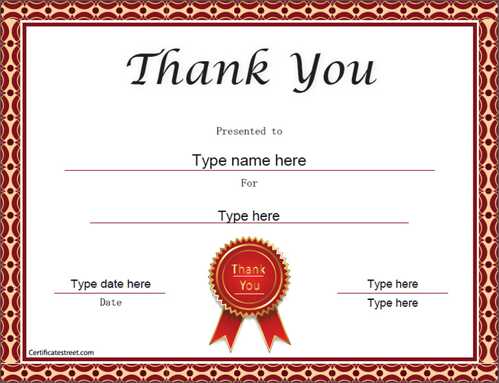 Special Certificates - Thank You Certificate Template in New Thanks Certificate Template