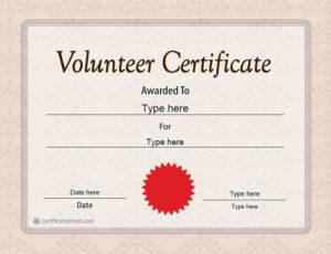 Special Certificates – Volunteer Certificate Template pertaining to Volunteer Certificate Template