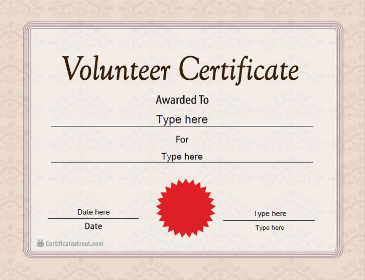Special Certificates - Volunteer Certificate Template pertaining to Volunteer Certificate Template