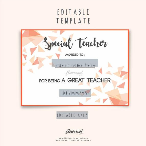Special Teacher Award Certificate Template Editable In Word, Special  Appreciation Gift For Best Teacher Award, Thank You Teacher Certificate with regard to Best Teacher Certificate Templates Free