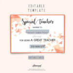 Special Teacher Award Certificate Template Editable In Word, Special  Appreciation Gift For Best Teacher Award, Thank You Teacher Certificate Within Best Teacher Certificate Templates
