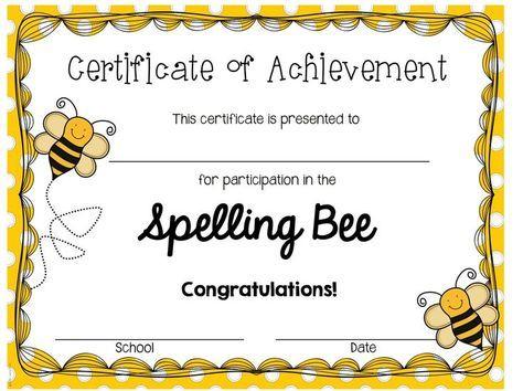 Spelling Bee Award Certificate Template (3) - Templates for Spelling Bee Award Certificate Template