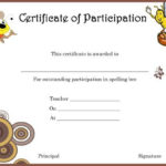 Spelling Bee Certificate Of Partcipation Template In Essay Writing Competition Certificate 9 Designs