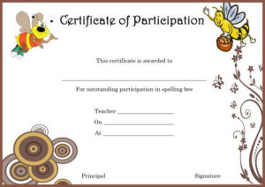 Spelling Bee Certificate Of Partcipation Template throughout Fresh Spelling Bee Award Certificate Template