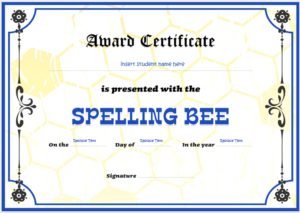 Spelling Bee Certificate Templates For Word | Word & Excel for Spelling Bee Award Certificate Template