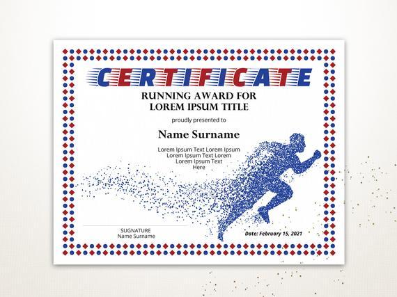 Sport Editable Zertifikat Vorlage Editable Running Award Diploma Druckbare  Laufende Zertifikat Vorlage Pdf Instant Download for Best Running Certificate Templates