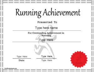 Sports Certificate – Achievement In Running for Best Running Certificate Templates