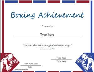 Sports Certificate – Boxing Achievement – Award regarding Boxing Certificate Template