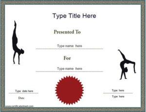 Sports Certificate – Gymnastics Achievement Certificate throughout Fresh Gymnastics Certificate Template