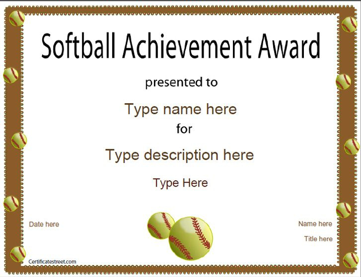 Sports Certificate - Softball Certificate for Fresh Printable Softball Certificate Templates
