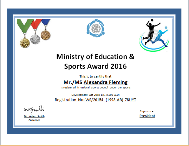 Sports Certificate Template For Ms Word | Document Hub in New Athletic Award Certificate Template