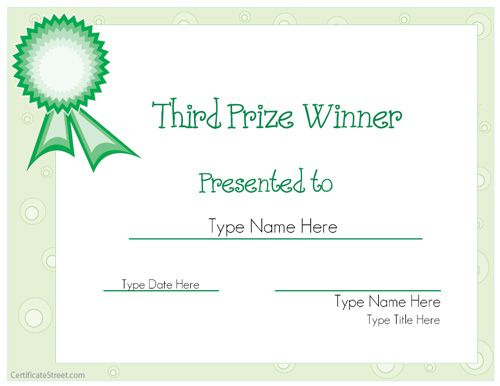 Sports Certificate - Third Prize Winner Certificate intended for Baby Shower Game Winner Certificate Templates