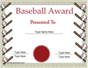 Sports Certificates – Baseball Certificate Template Pertaining To Baseball Achievement Certificates