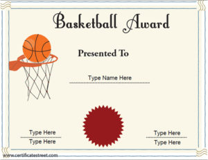 Sports Certificates – Basketball Achievement Certificate intended for Basketball Achievement Certificate Templates