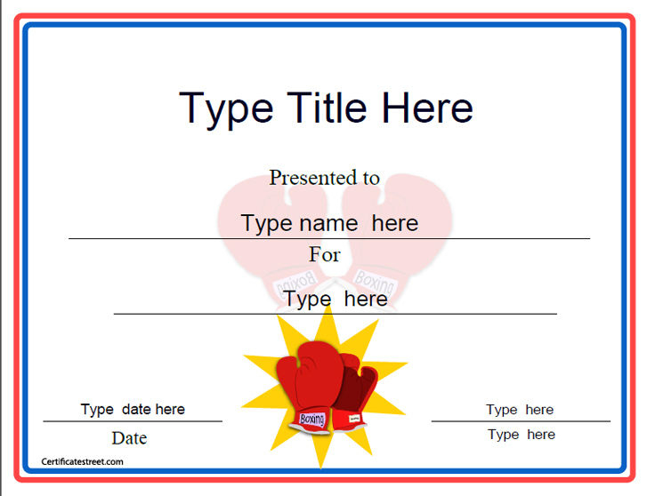 Sports Certificates - Boxing Award Template with Unique Boxing Certificate Template