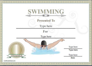 Sports Certificates – Certificate Of Achievement In Swimming pertaining to Swimming Certificate Template