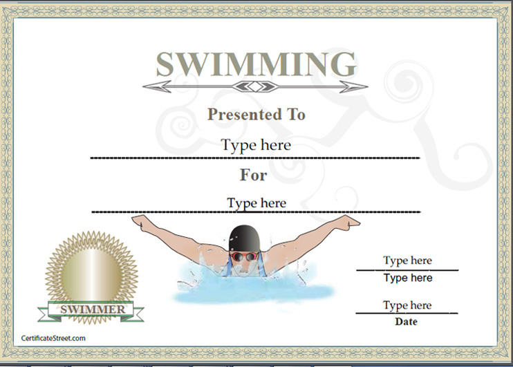 Sports Certificates - Certificate Of Achievement In Swimming pertaining to Swimming Certificate Template
