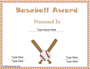 Sports Certificates – Free Baseball Certificate Template with regard to Quality Baseball Award Certificate Template