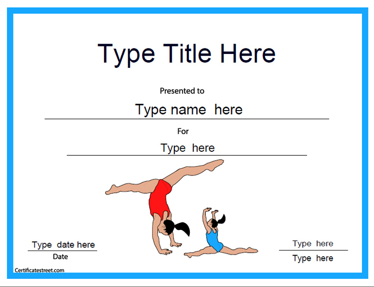 Sports Certificates - Gymnastic Template | Certificatestreet for Gymnastics Certificate Template