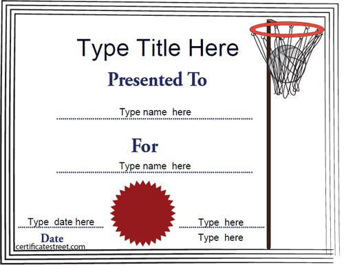 Sports Certificates - Netball Tempalate | Certificatestreet regarding Netball Certificate