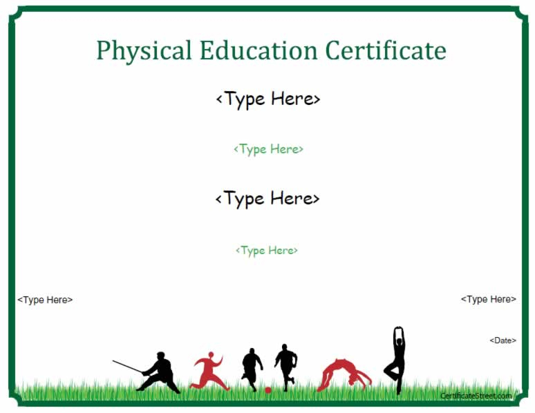 Sports Certificates - Physical Education Certificate within Best Pe Certificate Templates