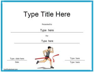 Sports Certificates – Running Award Certificate Template for Marathon Certificate Templates