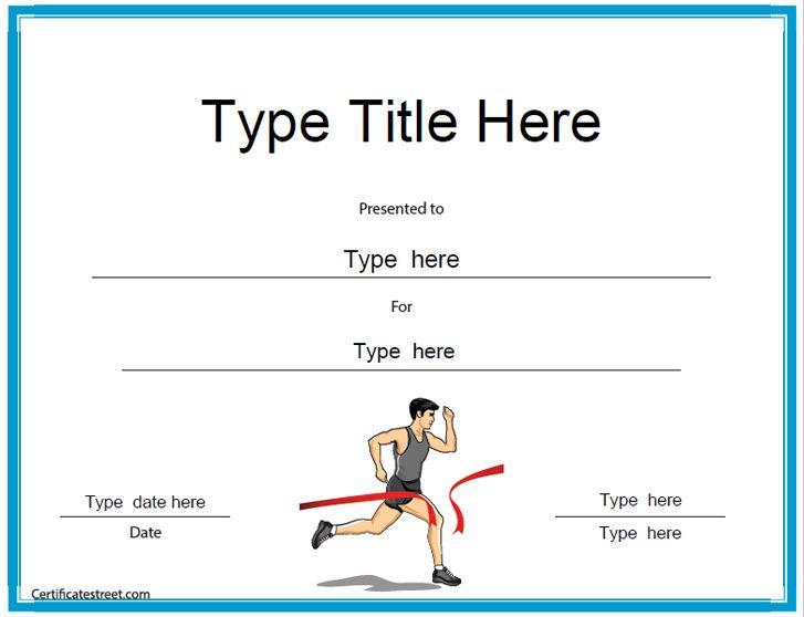 Sports Certificates - Running Award Certificate Template for Marathon Certificate Templates