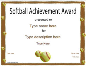 Sports Certificates – Softball Certificate with Unique Free Softball Certificate Templates