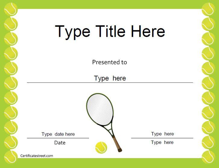 Sports Certificates - Tennis Award Certificate   Tennis Regarding Unique Tennis Gift Certificate Template