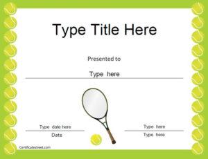Sports Certificates – Tennis Award Certificate | Tennis within Tennis Certificate Template Free