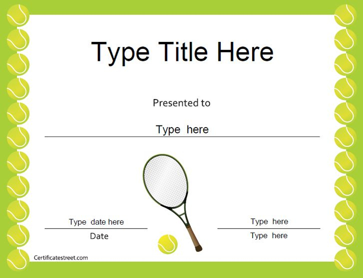 Sports Certificates - Tennis Award Certificate | Tennis within Tennis Certificate Template Free