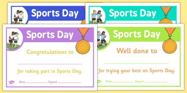 Sports Day Certificate Template (Teacher Made) intended for Sports Day Certificate Templates