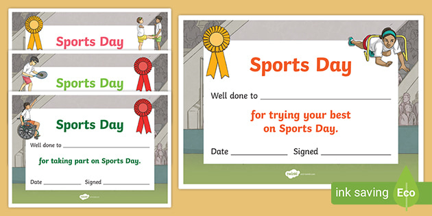 Sports Day Certificate Template (Teacher Made) with Fresh Sports Day Certificate Templates