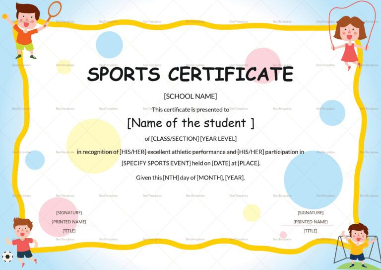 Sports Day Certificate Template - Yatay.horizonconsulting.co for Fresh Player Of The Day Certificate Template Free