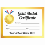 Sports Day Gold Medal Certificates Throughout Sports Day Certificate Templates