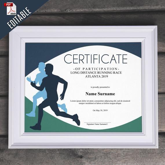 Sports Editable Certificate Template Editable Running Award regarding Editable Running Certificate