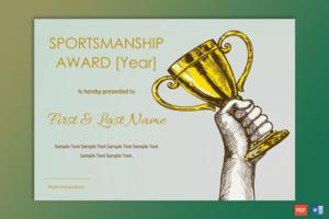 Sportsmanship Award Certificate – Soft Blue Border – Gct Regarding Sportsmanship Certificate Template