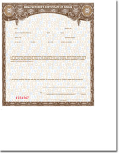 Standard Blank Mco'S (Vehicle, Trailer, Motorcycle, Etc.) pertaining to Certificate Of Origin For A Vehicle Template