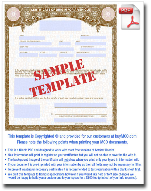 Standard Mco Template inside Certificate Of Origin For A Vehicle Template