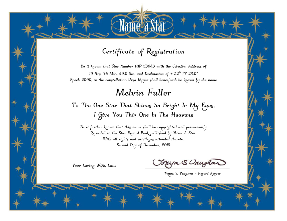 Star Naming Certificate Template | Certificate Templates intended for Star Naming Certificate Template