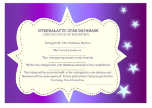 Star Naming Certificate Templates (15+ Free Official Looking throughout Unique Star Naming Certificate Template