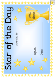 Star Of The Day Award Certificate Template – Blue Download regarding Star Award Certificate Template