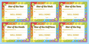 Star Of The Week Award Certificate For Good Behavior regarding Good Behaviour Certificate Template 10 Kids Awards