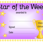 Star Of The Week Award Certificate Template – Violet Within New Star Of The Week Certificate Template