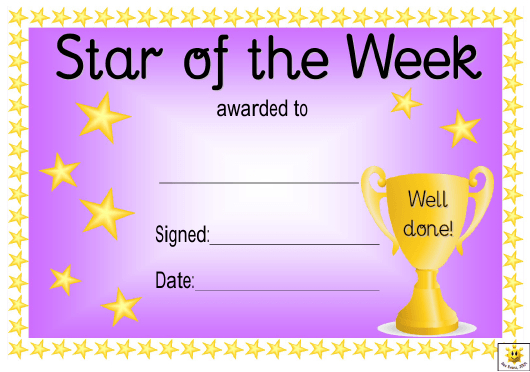 Star Of The Week Award Certificate Template - Violet within New Star Of The Week Certificate Template