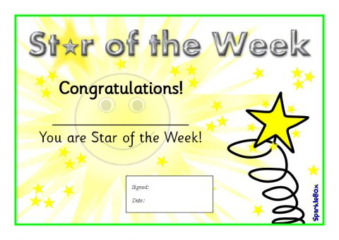 Star Of The Week Certificates (Sb1917) - Sparklebox pertaining to Star Of The Week Certificate Template
