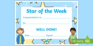 Star Of The Week Decorative Certificate (Teacher Made) inside New Star Of The Week Certificate Template