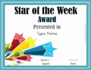 Star Of The Week Printables | Customize With Your Photo And in Star Certificate Templates Free
